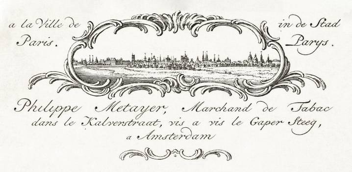 Business card by Philippe Metayer, tobacco merchant (1785 - 1833) by Jean Bernard (1775-1883). Original from The Rijksmuseum.  Free Photo