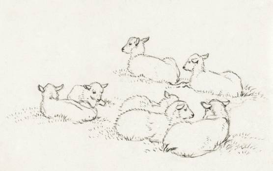 Six lying lambs (1820) by Jean Bernard (1775-1883). Original from The Rijksmuseum.  #391484