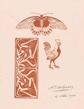 Butterfly, rooster and leaf ornament (1901) by Julie de Graag (1877-1924). Original from The Rijksmuseum.  #391625