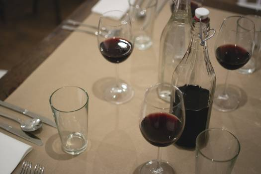 Red wine on a table #391949