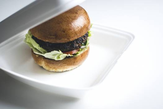 Beef burger in a box food photography Free Photo