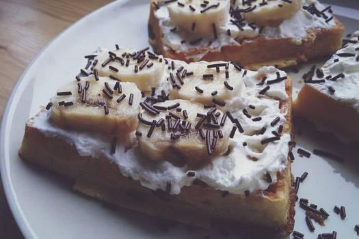 Closeup of banana waffle Free Photo