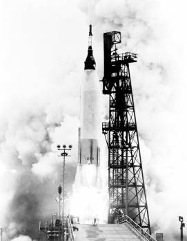 The Mercury-Atlas 7 carrying astronaut M. Scott Carpenter, was launched by NASA from Pad 14, Cape Canaveral, Florida, on May 24, 1962. Original from NASA.  #392346