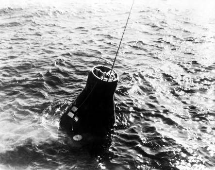 "Mercury-Atlas 6 ""Friendship 7"" spacecraft retrieved from the Atlantic Ocean. Mar 16th, 1962. Original from NASA.  #392369"