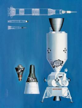 Artist concept illustrating the relative sizes of the one-man Mercury spacecraft, the two-man Gemini spacecraft, and the three-man Apollo spacecraft. Original from NASA.  #392380
