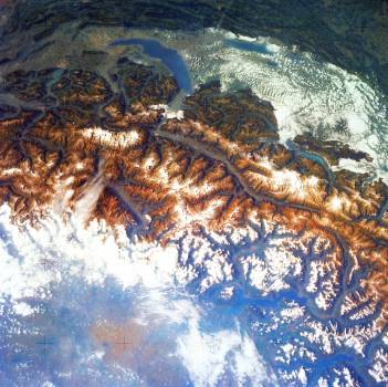 Snow covered Alps of France, Italy, and Switzerland. Original from NASA.  Free Photo