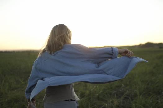 Women person grassland sunset #39248