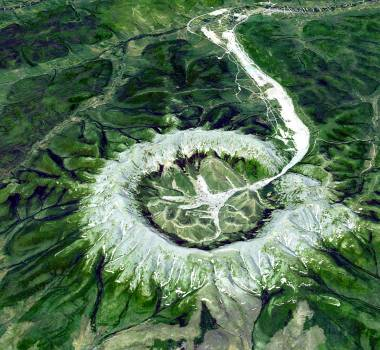 The Kondyor Massif is located in Eastern Siberia, Russia, north of the city of Khabarovsk. Original from NASA.  #392803