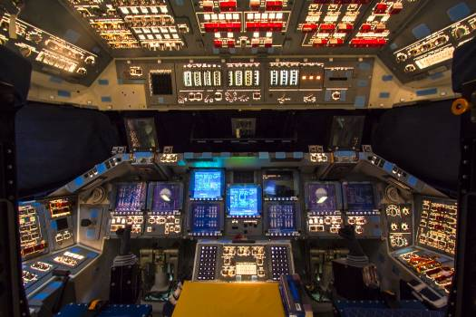 In Orbiter Processing Facility-2 at NASA's Kennedy Space Center in Florida, the flight deck of space shuttle Atlantis is lit one last time as preparations are made for the Space Shuttle Program transition and retirement activities. Original from NASA.  #392837