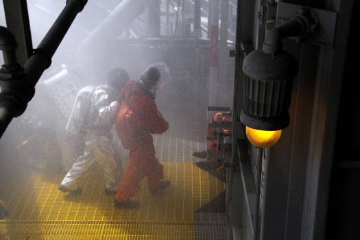 A Mode II-IV evacuation simulation exercise at NASA Kennedy Space Center's Launch Pad 39A, which conducted by The Space Shuttle Program and U.S. Air Force. Original from NASA.  #392923