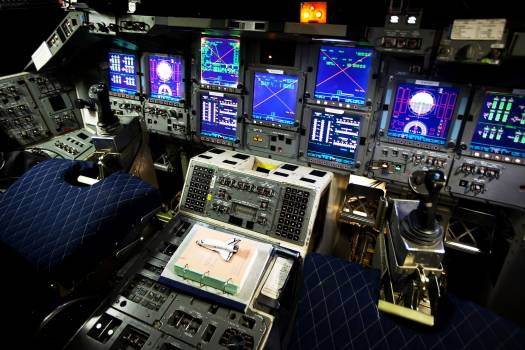 The flight deck of the Shuttle Avionics Integration Laboratory at the Johnson Space Center on Tuesday, July 12, 2011, in Houston. Original from NASA .  #393008