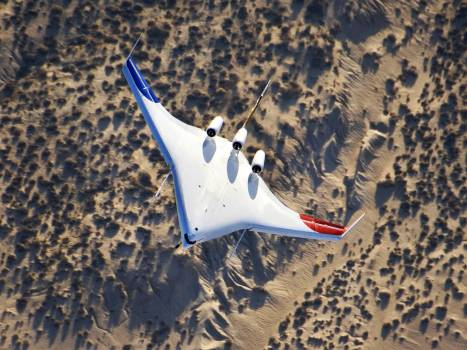 Boeing's X-48B Blended Wing Body first flight. July 20, 2007. Original from NASA.  #393081
