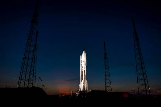 An Atlas V rocket with NASA's Juno spacecraft payload is seen the evening before it's planned launch at Space Launch Complex 41 of the Cape Canaveral Air Force Station in Florida on Thursday, August 4, 2011. Original from NASA .  Free Photo