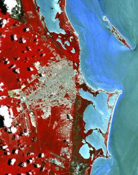 Cancun, a resort city on the east side of Mexico's Yucatan Peninsula. Original from NASA.  #393138