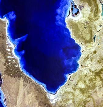 Hamelin Pool Marine Nature Reserve, located in the Shark Bay World Heritage Site in Western Australia. Original from NASA.  #393141