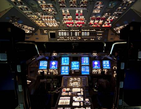 The flight deck of space shuttle Endeavour is illuminated during Space Shuttle Program transition and retirement activities. Original from NASA .  Free Photo