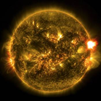 Image of 1st Notable Solar Flare of 2015. The sun emitted a mid-level solar flare, peaking at 11:24 p.m. EST on Jan. 12, 2015. Original from NASA .  #393395