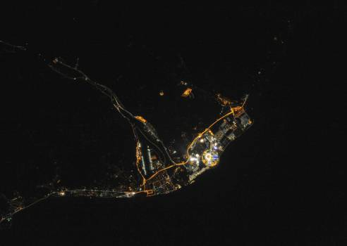 Night view of Sochi, Russia during Olympics. Feb 10th, 2014. Original from NASA.  #393413