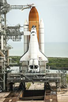 Atlantis is seen on launch pad 39a moments after the STS-135 crew arrived for their launch at the NASA Kennedy Space Center in Cape Canaveral, Fla. Original from NASA .  #393488