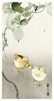 Two chicks fighting for a butterfly (1900 - 1910) by Ohara Koson (1877-1945). Original from The Rijksmuseum.  #393609
