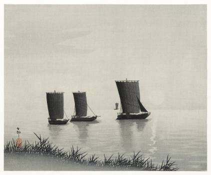 Fishing boats (1900 - 1936) by Ohara Koson (1877-1945). Original from The Rijksmuseum.  #393645