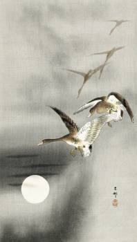 Geese in flight (1900 - 1930) by Ohara Koson (1877-1945). Original from The Rijksmuseum.  #393650