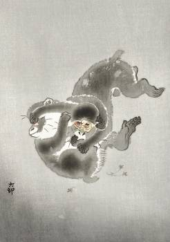 Two playing monkeys (1900 - 1930) by Ohara Koson (1877-1945). Original from The Rijksmuseum.  #393690