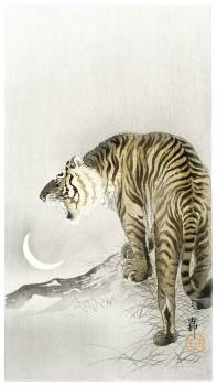 Roaring tiger (1900 - 1945) by Ohara Koson (1877-1945). Original from The Rijksmuseum.  #393740
