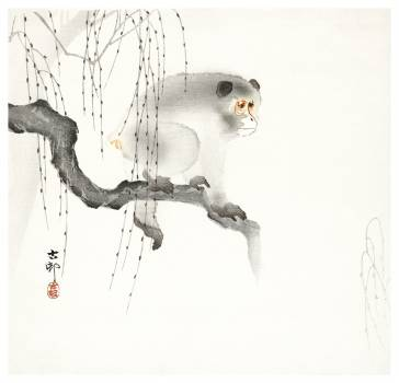 Monkey on a tree branch (1900-1930) by Ohara Koson (1877-1945). Original from The Rijksmuseum.  Free Photo