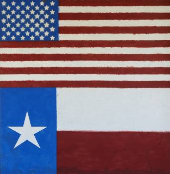 Painting of the American and Texas flags on a building in Albany, Texas, seat of Shackelford County. Original image from Carol M. Highsmith's America, Library of Congress collection.  Free Photo