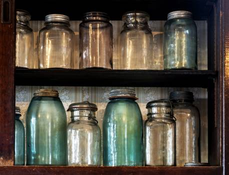 Canning jars in Spindletop-Gladys City Boomtown park, Gladys City, Texas. Original image from Carol M. Highsmith's America, Library of Congress collection.  #394019