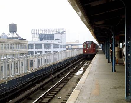 New York subway train arrives at a station in Brooklyn. Original image from Carol M. Highsmith's America, Library of Congress collection.  #394134
