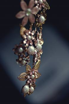 Gold Pearl and Rose Gold Flower Necklace #39481