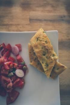 Tomato salad and fresh bread #394955
