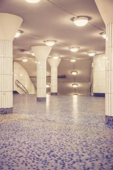 Tiled floor of a subway hallway in Hamburg Free Photo