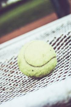 Tennis ball on a racket #395144