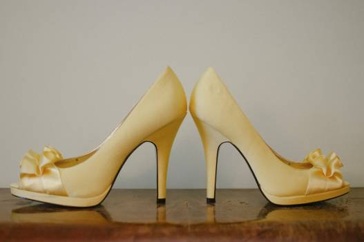Beautiful high heeled wedding shoes Free Photo