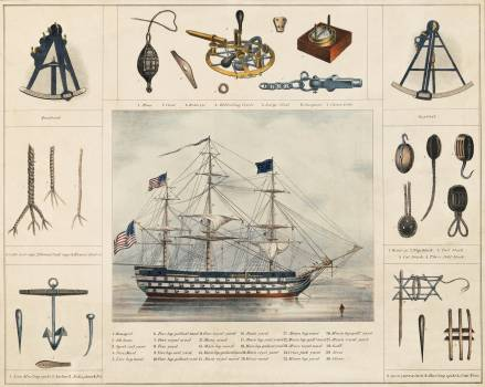 A lithograph illustration of a ship and interiors by Peter Duval. Original from Library of Congress.  #395753