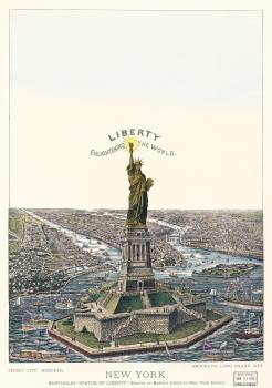 The Great Bartholdi Statue, Liberty Enlightening the World, published by Currier & Ives. Original from Library of Congress.  #395754