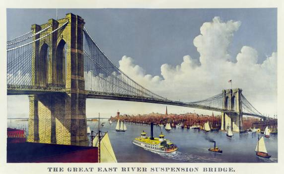 The great east river suspension bridge, connecting the cities of New York and Brooklyn published by Currier & Ives. Original from Library of Congress.  #395755