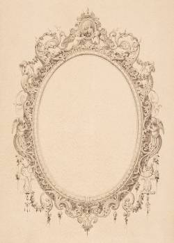 Portrait Frame by James F. Queen (Died: 1889) design with an oval frame decorated with baby angels. Original from Library of Congress.  #395782