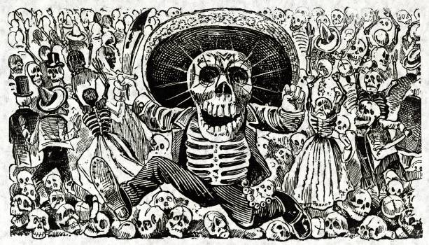 Calaveras Oaxaquena by Mexican political printmaker and engraver, Jose Guadalupe Posada (1852-1913). Original from Library of Congress.  #395789