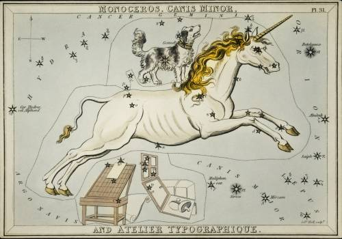 Sidney Hall's (1831) astronomical chart illustration of the Monoceros, Canis Minor and the Atelier Typographique. Original from Library of Congress.  #395796
