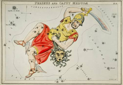 Sidney Hall's (1831) astronomical chart illustration of the Perseus and the Caput Medusae. Original from Library of Congress.  #395807