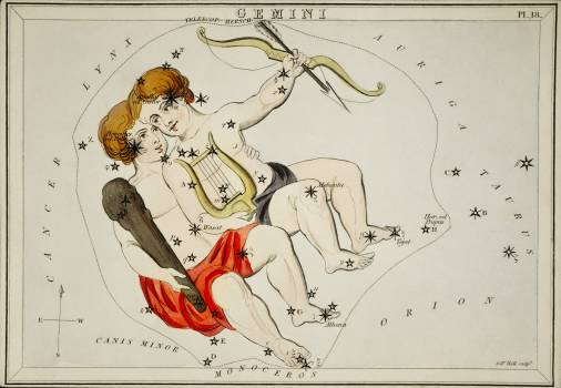 Sidney Hall's (1831) astronomical chart illustration of the zodiac Gemini. Original from Library of Congress.  #395821