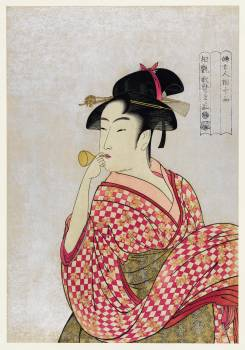 Poppen o Fuku Musume by Utamaro Kitagawa(1753-1806), a print of a traditional young Japanese woman blowing a glass pipe. Original from Library of Congress.  Free Photo