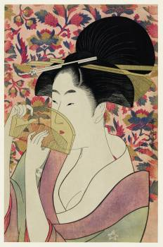 Kushi by Utamaro Kitagawa (1753-1806), meaning Comb, the traditional Japanese Ukyio-e style illustration depicts a Japanese woman portrait holding a comb. Original from Library of Congress.  #395853