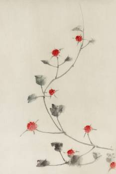 Small Red Blossoms on a Vine by Katsushika Hokusai published between 1830 and 1850, an illustration of small red blossoms on a vine isolated. Original from Library of Congress.  #395868