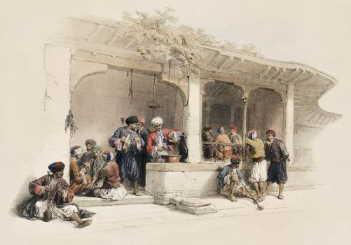 The coffee shop illustration by David Roberts (1796–1864). Original from The New York Public Library.  #395893