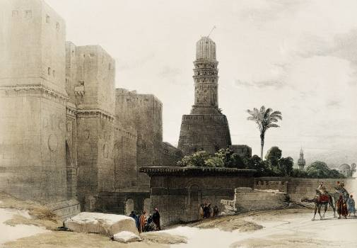 Gate of Victory (Bab an Nasr) and Mosque of El Hakim illustration by David Roberts (1796–1864). Original from The New York Public Library.  #395906